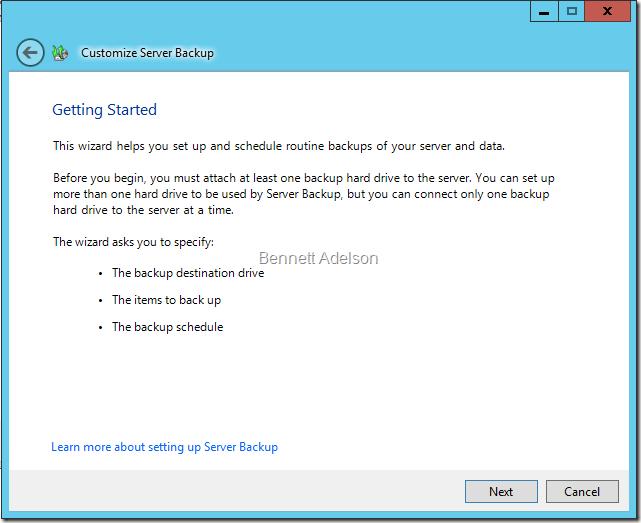 Server Backup Getting Started