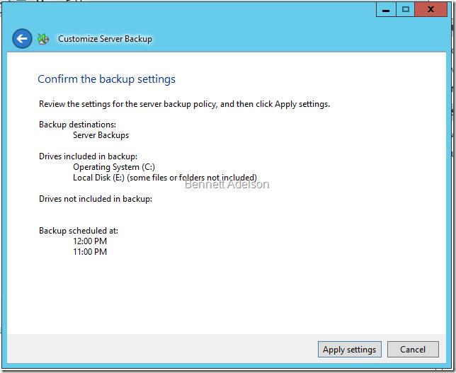 Confirming backup settings