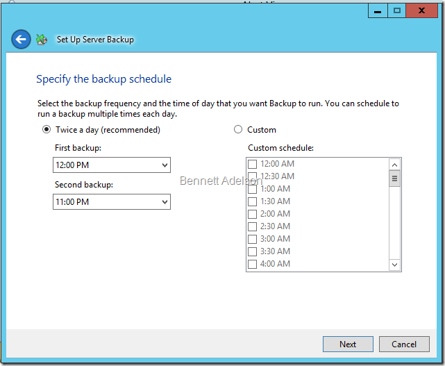 Specify the backup schedule