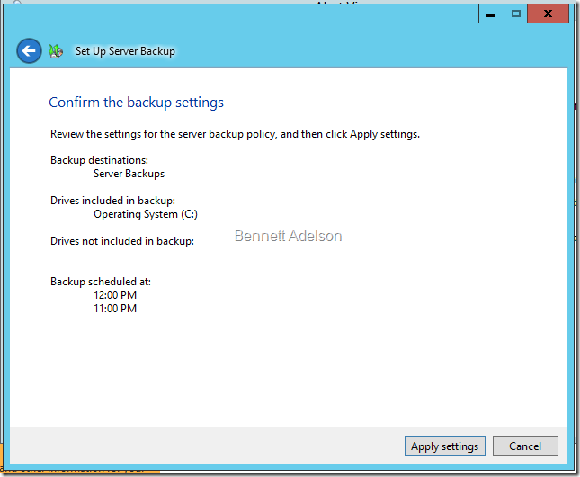 Confirm the backup settings