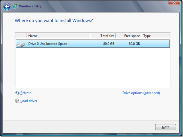 Where do you want to install Windows?