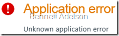 Unknown application error