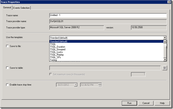 SQL Server Profiler trace properties