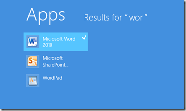 Windows 8 Start Menu search