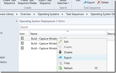 Export a Configuration manager 2012 task sequence